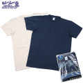 Velva Sheen ベルバシーン 2PAC ポケット付きCrew NecK Tシャツ NAVY+ OATMEAL