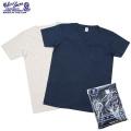 Velva Sheen ベルバシーン 2PAC ポケット付きV-Neck Tシャツ NAVY + OATMEAL