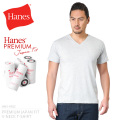 Hanes ヘインズ HM1-F002 PREMIUM JAPAN FIT Vネック Tシャツ H.GRAY
