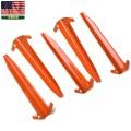 実物 新品 米軍 テント用アルミ製ペグ オレンジ 5本セット