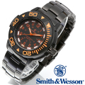 【クーポン対象外】 Smith & Wesson スミス&ウェッソン SWISS TRITIUM DIVER WATCH 腕時計 BLACK/ORANGE SWW-900-OR
