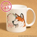 秋田犬と花丸 マグカップ