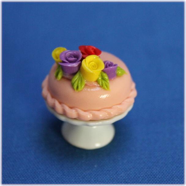 バラのデコレーションケーキミニチュアフード