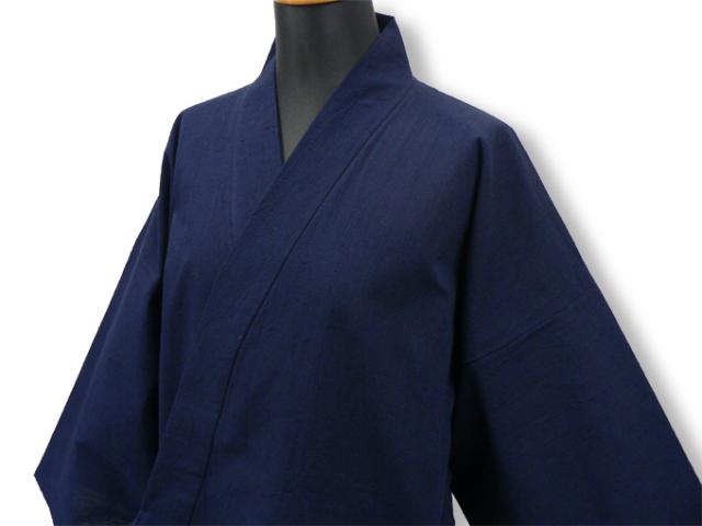 【日本製】 経てスラブ作務衣 (たてすらぶさむえ) 濃紺  【IKISUGATA】