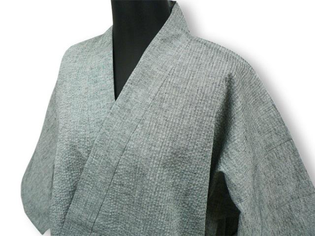 【日本製】 綿麻シジラ作務衣 (めんあさしじらさむえ) グレー