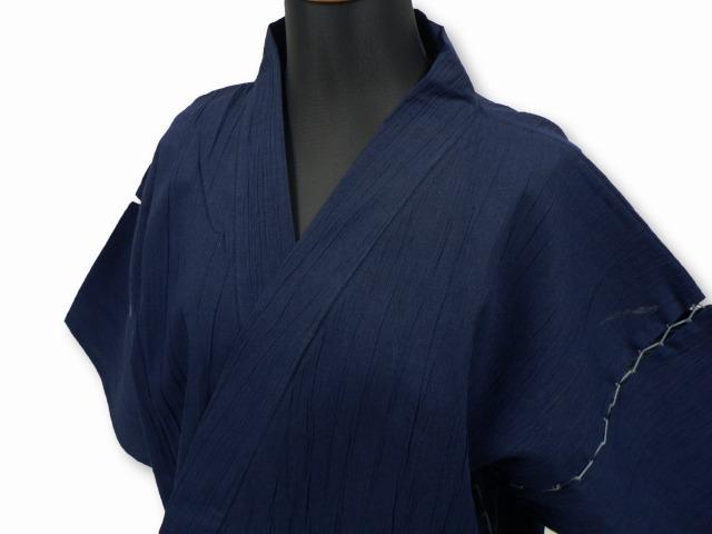 【日本製】 綿麻楊柳甚平 (めんあさようりゅうじんべい) 濃紺