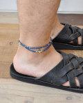 39 (SunKu/サンク) Indigo Dye Beads Anklet & Necklace / アンクレット&ネックレス