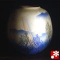 九谷焼 花瓶 銀彩木立(箱なし・ギフト包装不可)(W-v0001)