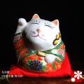 九谷焼 4号招き猫(右手) 青九谷(WAZAHONPO-31754)
