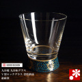 九谷和グラス V型ロックグラス 青粒鉄仙(WAZAHONPO-VGLASS-A)