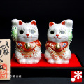 2号ペア招き猫 白盛(WAZAHONPO-41681)
