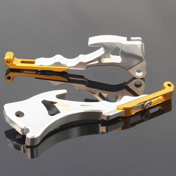 シグナスX/SR用(SE12J/SE44J):アルミ削り出し 調整式 ビレットブレーキレバー シルバー×ゴールド
