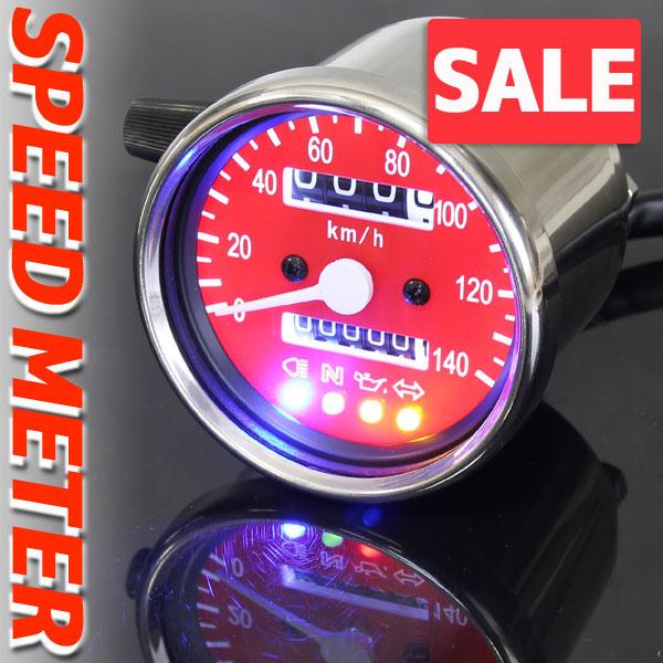 ★セール バイク用 140km/h 機械式 LED スピードメーター 60パイ レッド