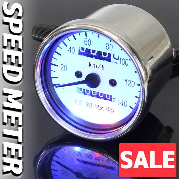 ★セール バイク用 140km/h 機械式 LED スピードメーター 60パイ ホワイト