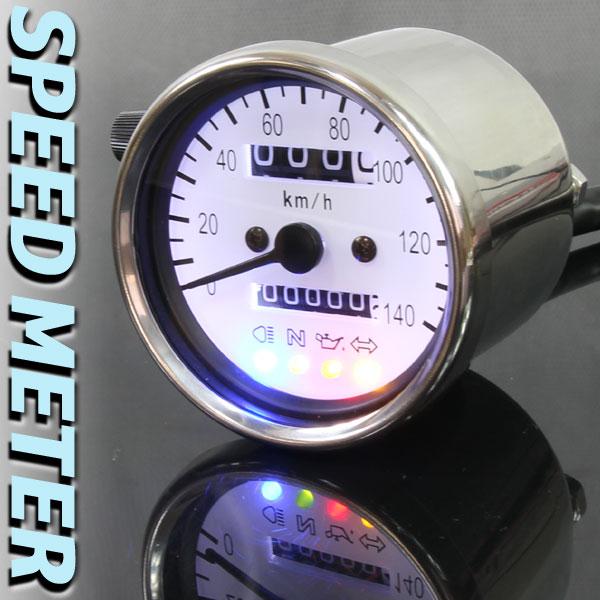 バイク用 140km/h 機械式 LED スピードメーター 60パイ ホワイト(ホワイトLED)