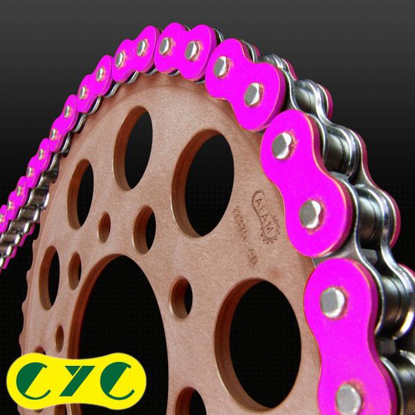 CYC バイクチェーン:520-120L カラーシールチェーン 蛍光ピンク