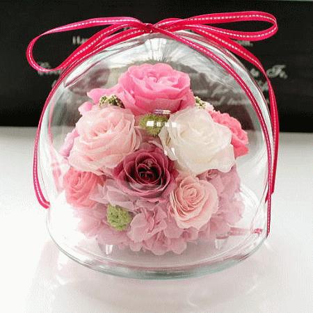 Fairy Flora (GLASS DOME) : フェアリーフローラ(ガラスドーム アレンジ)【送料無料】