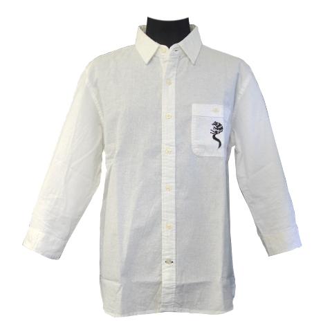 綿麻混紡七分袖シャツ/ホワイトファングウルフ/ホワイト