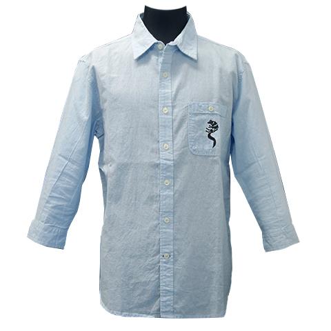綿麻混紡七分袖シャツ/ホワイトファングウルフ/サックス