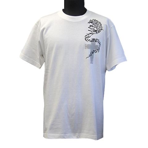 Tシャツ/ナイトウルフwithクロス ホワイト