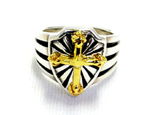 EXCALIBUR RING WITH GOLD CROSS