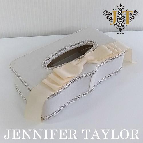 【ポイント5倍 5月】ジェニファーテイラー Jennifer Taylor ティッシュBOX・Chinon(WH)-Ribbon