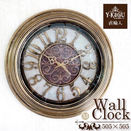 【Y-KAGU直輸入】【初回限定:お買い得企画】ウォールクロック(壁時計) ラウンドゴールド(M)