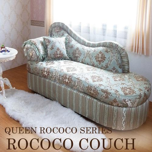 【家財便Eランク】Queen Rococo クラシックカウチソファ (GR)