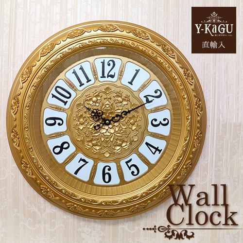 【ポイント5倍 4月】【Y-KAGU直輸入】ウォールクロック(壁時計) ロココゴールド