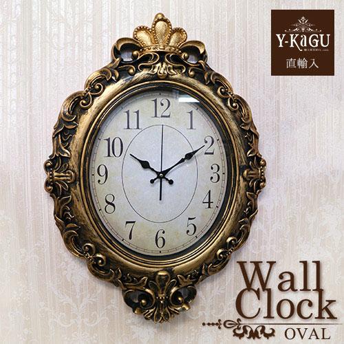 【ポイント5倍 4月】【Y-KAGU直輸入】ウォールクロック(壁時計) ゴールド(オーバル)