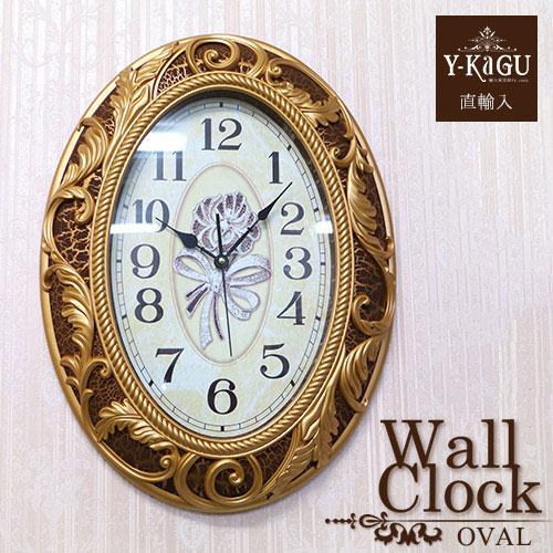 【ポイント5倍 4月】【Y-KAGU直輸入】ウォールクロック(壁時計) ロココブラウン(オーバル)
