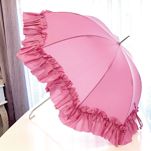 【ポイント5倍 4月】雨の日をおしゃれに楽しく♪プリンセスフリル傘(ローズピンク)