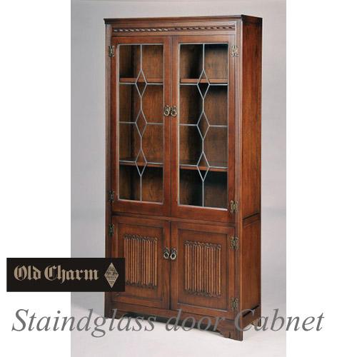 【送料無料】 英国調:Old Charm~オールドチャームシリーズ~ ステンドガラス戸本棚