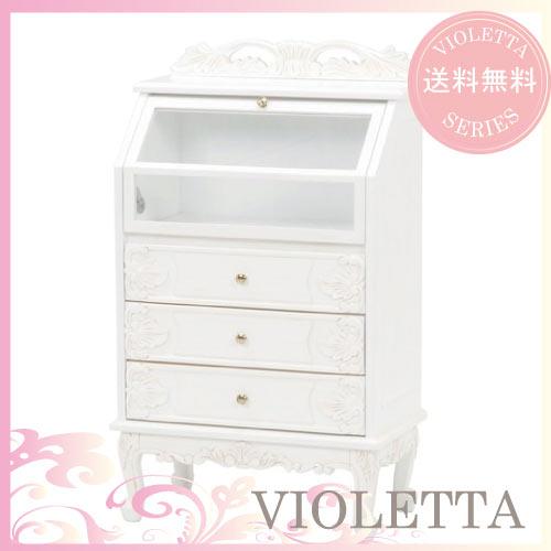 【送料無料】 VIOLETTA~ヴィオレッタ~ ガラスチェスト(ホワイト)