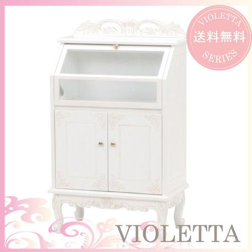 【送料無料】 VIOLETTA~ヴィオレッタ~ ガラスキャビネット(ホワイト)