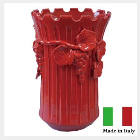 【送料無料】 イタリア製 傘立 ぶどうの傘立レッド