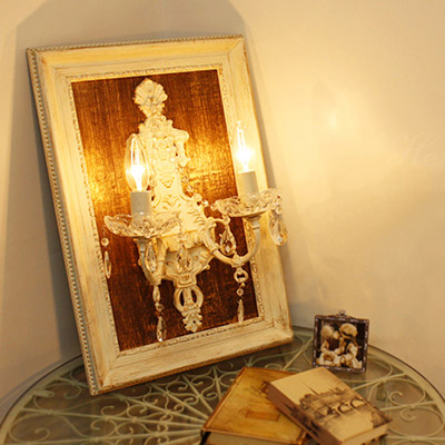 【ポイント10倍 4月】【送料無料】Hermine エルミーヌ 2灯ウォールフレームランプ/ホワイトアンティーク