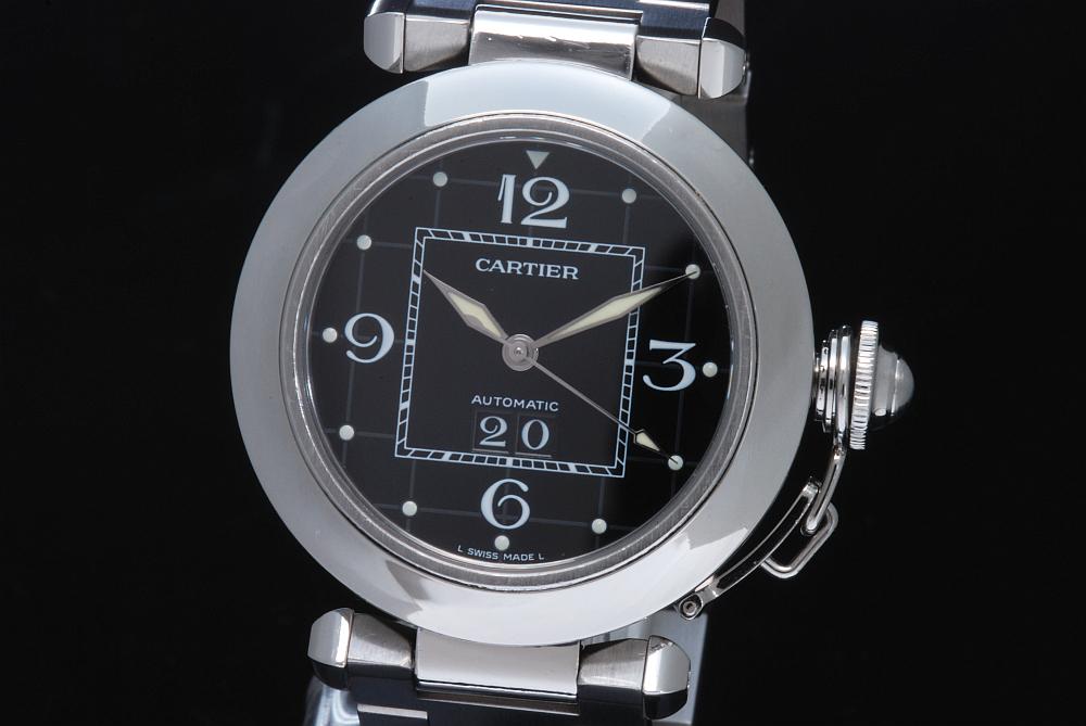 カルティエ W31053M7 パシャC ビッグデイト 黒 オートマ【OH済】