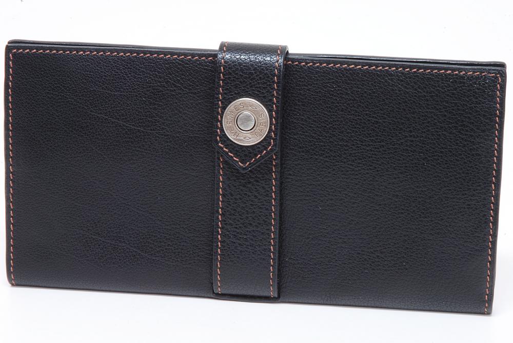 エルメス デミトリー レザー 二つ折長札入 財布 ブラック 『L』
