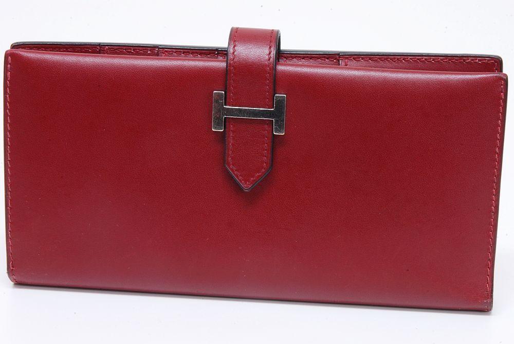 エルメス HERMES ベアン クラシック ボックスカーフ 財布 『D』