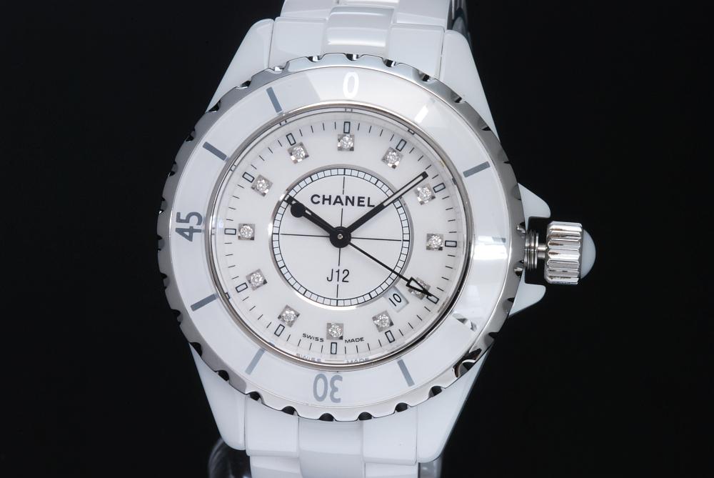 シャネル H1628 J12 12Pダイヤ 白セラミック レディース