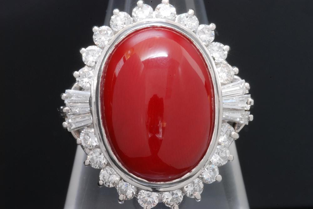 Pt900 赤サンゴ 赤珊瑚 ダイヤモンド 1.18ct リング