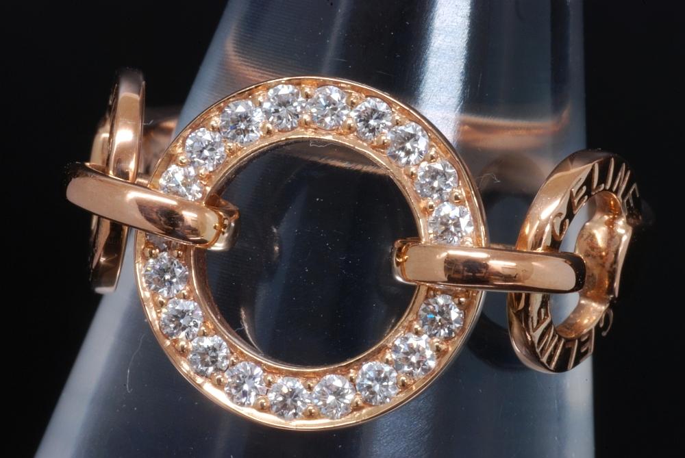 セリーヌ K18PG ピンクゴールド ダイヤモンド サークル リング #10【美品】