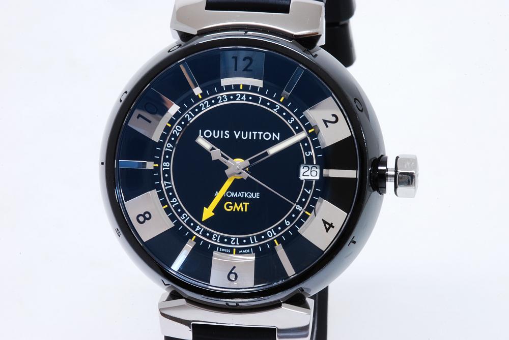 ヴィトン Q113K0 タンブール イン・ブラック GMT オートマ