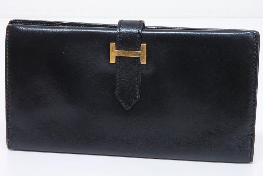 エルメス ベアン クラシック 長財布 ボックスカーフ 黒 『D』