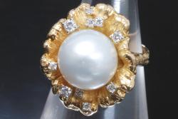 岩倉康二 KOJI K18YG/PT900 パール 真珠 ダイヤ0.21ct ダイヤモンド リング