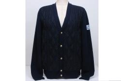 モンクレール ガムブルー カーディガン maglione tricot (M) メンズ【正規】