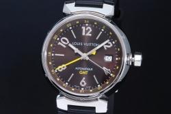 ヴィトン タンブール オートマティック GMT ブラウン Q1131 メンズ