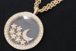 ショパール ハッピーダイヤモンド ネックレス 月&星 K18YG