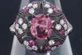 PT900 パパラチア サファイア ダイヤモンド リング 指輪